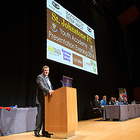 St Johnstone FC Youth Academy Presentation Night at Perth Concert Hall..21.04.14<br /> Manager Tommy Wright speaks to the audience<br /> Picture by Graeme Hart.<br /> Copyright Perthshire Picture Agency<br /> Tel: 01738 623350  Mobile: 07990 594431