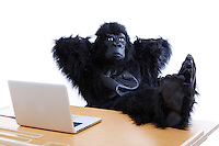 Young man in gorilla costume resting feet on desk at office
