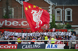 EXETER, ENGLAND - Wednesday, August 24, 2011: Liverpool supporters with a banner 'Expose the lies before Thatcher dies' during the Football League Cup 2nd Round match against Exeter City at St James Park. (Pic by David Rawcliffe/Propaganda)