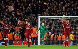 LIVERPOOL, ENGLAND - Tuesday, April 24, 2018: Liverpool's goalkeeper Loris Karius looks dejected after AS Roma score a second goal to make the score 5-2 during the UEFA Champions League Semi-Final 1st Leg match between Liverpool FC and AS Roma at Anfield. (Pic by David Rawcliffe/Propaganda)