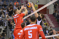 December 16, 2017 - Krakow, Malopolska, Poland - Tsvetan Sokolov (1) of Lube Civitanova in action against  one of SKRA Belchatow during the match between Lube Civitanova and SKRA Belchatow during the semi finals of Volleyball Men's Club World Championship 2017 in Tauron Arena. (Credit Image: © Omar Marques/SOPA via ZUMA Wire)