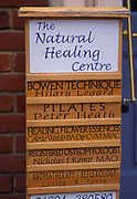 A0740H The Natural Healing Centre noticeboard Woodbridge Suffolk England