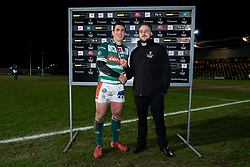 Guinness PRO14, Rodney Parade, Newport, UK 06/03/2020<br /> Dragons vs Benetton Rugby<br /> Ian Keatley of Benetton Rugby is presented his Man of the Match award<br /> Mandatory Credit ©INPHO/Ryan Hiscott