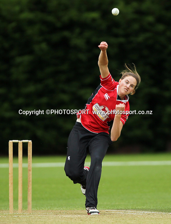 Amy Satterthwaite bowling for Canterbury. Canterbury Magicians v Wellington Blaze. Action Cricket Twenty20, womens cricket match, Lincoln No. 3, Lincoln University, Thursday 29 December 2011. Photo : Joseph Johnson / photosport.co.nz