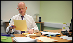 Foreign Secretary William Hague working in his Constituency office in the North East, Wednesday February 17, 2010. Photo By Andrew Parsons/ i-Images.