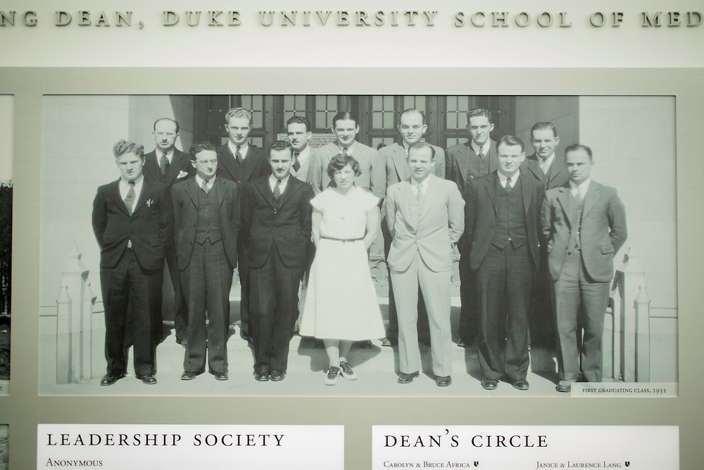The first graduating class from Duke University's School of Medicine in 1932, archival photo hanging in the lobby of the Mary Duke Biddle Trent Semans Center for Health Education, Friday, June 24, 2016. Few college students from underrepresented groups seek doctorates, particularly in STEM fields. Duke University&rsquo;s medical school created the Office For Biomedical Diversity six years ago to see if they could change that equation. Now, not only are more minority students are entering Duke's biomedical PhD programs, but they&nbsp;are performing better once there.&nbsp;<br /> <br /> D.L. Anderson for The Chronicle of Higher Education
