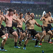 NZ All Black Sevens Captain, DJ Forbes, leads his teammates in the Haka, at Hong Kong Stadium after winning the 2014 Hong Kong Sevens Championship.  New Zealand defeated England 26-7 in the Cup Final to become the 2014 Hong Kong Sevens Champions, at Hong Kong Stadium, Hong Kong.  Photo by Barry Markowitz, (Courtesy STP/TriMarine) 3/20/14, 7 pm