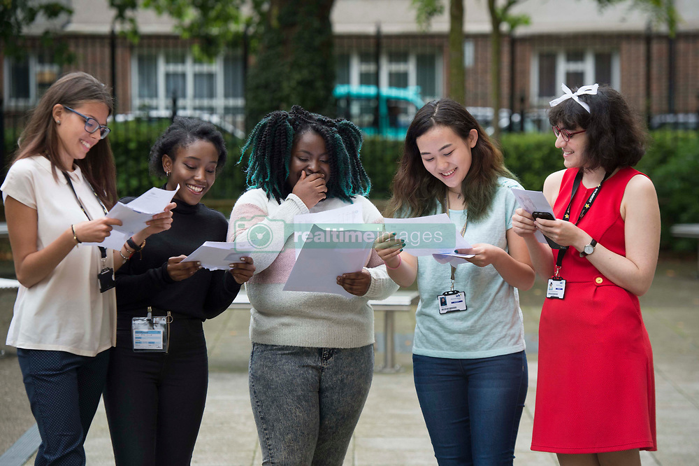 August 17, 2017 - London, London, United Kingdom - Image licensed to i-Images Picture Agency. 17/08/2017. London, United Kingdom. Students at Westminster Kingsway College in London celebrate as they get their 'A' Level exam results. Picture by i-Images (Credit Image: © i-Images via ZUMA Press)