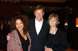 Left to right, PETRA ROACH and JOHNNY & WENDY KIDD at the Holders Season Barbados Comes to London night at The Four Seasons Hotel, Hamilton Place, London on 3rd February 2006.<br />