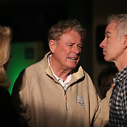 February 28, 2014, Palm Springs, California: <br /> Guests chat with John McEnroe during the McEnroe Challenge for Charity VIP Draw Ceremony in the newly constructed Stadium 2 at the Indian Wells Tennis Garden. <br /> (Photo by Billie Weiss/BNP Paribas Open)