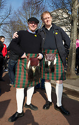 CARDIFF, WALES - Thursday, March 1, 2012: Members of the Football Association of Wales take part in the 10th St. David's Day Parade through the streets of Cardiff. Media Officer Ceri Stennett, head of international affairs Mark Evans. (Pic by David Rawcliffe/Propaganda)