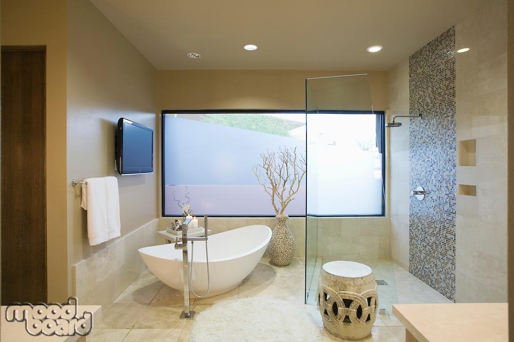 Palm Springs bathroom with freestanding bath