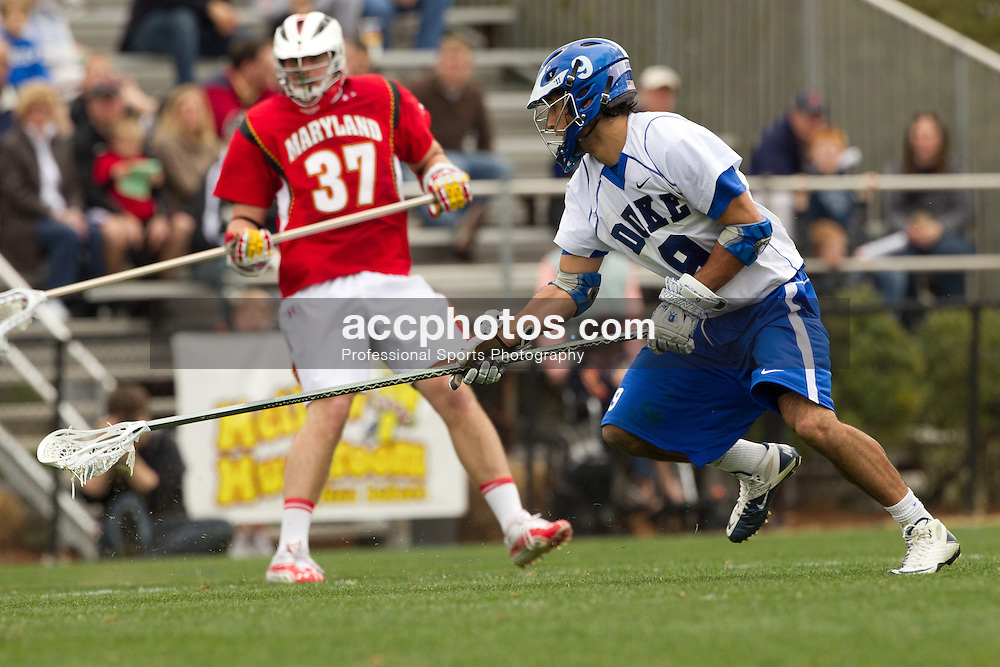 DURHAM, NC - MARCH 05: CJ Costabile #9 of the Duke Blue Devils while playing the Maryland Terrapins on March 05, 2011 at Koskinen Stadium in Durham, North Carolina. Duke won 8-9 in overtime. (Photo by Peyton Williams/Getty Images)