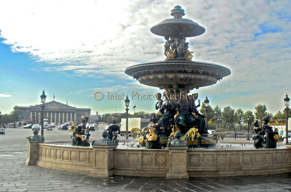 Fountain in front of the national Assembly in Paris, France