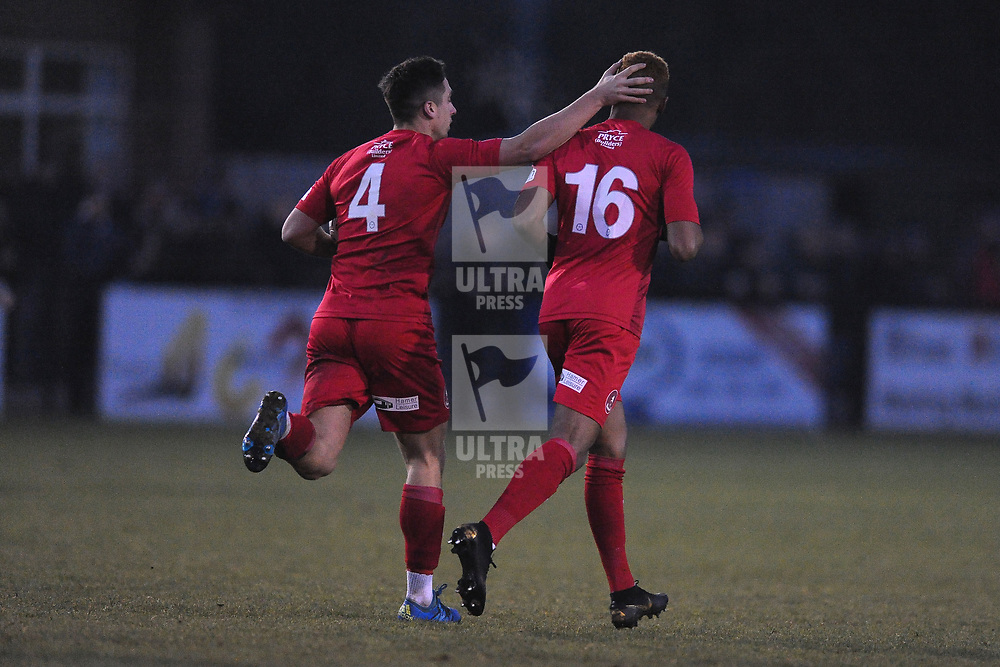 TELFORD COPYRIGHT MIKE SHERIDAN GOAL. Marcus Dinanga of Telford is congratulated by Adam Walker of Telford aftewr he scores to make it 1-2 during the Vanarama Conference North fixture between Darlington and AFC Telford United at Blackwell Meadows on Saturday, November 30, 2019.<br /> <br /> Picture credit: Mike Sheridan/Ultrapress<br /> <br /> MS201920-032
