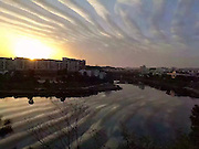 DEXING, CHINA - FEBRUARY 17: (CHINA OUT)<br /> <br /> Wave Clouds Appear in the sky over China<br /> <br /> Banded clouds appear in sky at nightfall on February 17, 2016 in Dexing, Jiangxi Province of China. News from the Weibo of CCTV Weather Report that there being large scale of wave clouds on Wednesday. <br /> ©Exclusivepix Media