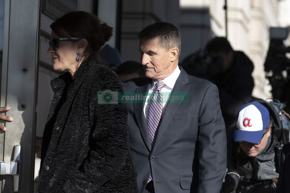 December 18, 2018 - Washington, District of Columbia, U.S. - General MICHAEL FLYNN, (C) former National Security Adviser to United States President Trump, arrives at US District Court for sentencing in Washington. Flynn's sentence was delayed, after his lawyers took up Judge E. Sullivan on his repeated offers to do so. Flynn was in court in Washington, to be sentenced for lying to the FBI about conversations he had with Russian Envoy Kislyak. (Credit Image: © Alex Edelman/CNP via ZUMA Wire)