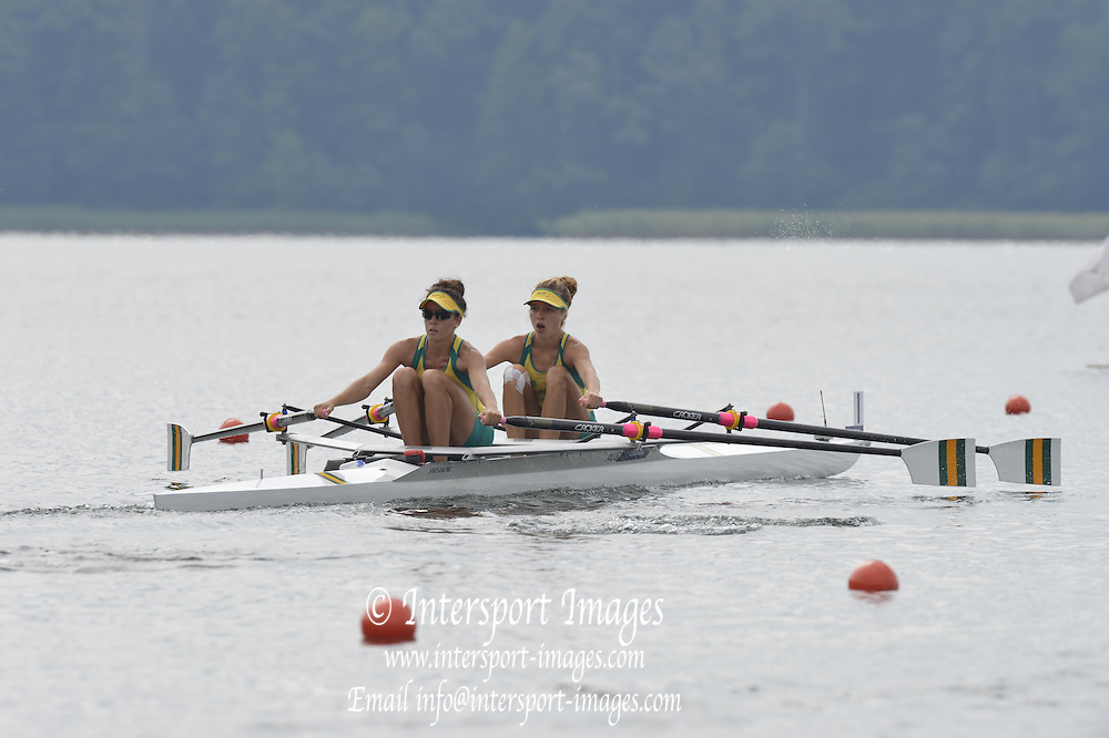 Trackai. LITHUANIA.  AUS BLW2X. Bow Thea ADAMSON and Hannah JANSEN. 2012 FISA U23 Rowing Championships, Lake Galve.   11:29:09 Thursday 12/07/2012 [Mandatory credit: Peter Spurrier/Intersport Images]..Rowing, U23, 2012.