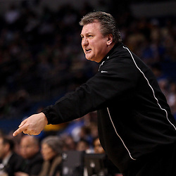 Mar 17, 2011; Tampa, FL, USA; West Virginia Mountaineers head coach Bob Huggins against the Clemson Tigers during the first half of the second round of the 2011 NCAA men's basketball tournament at the St. Pete Times Forum.  Mandatory Credit: Derick E. Hingle