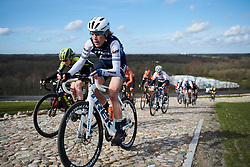 Ellen van Dijk (NED) attacks the VAMberg cobbles at Drentse 8 van Westerveld 2019, a 145 km road race starting and finishing in Dwingeloo, Netherlands on March 15, 2019. Photo by Sean Robinson/velofocus.com