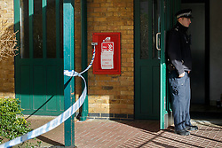 © licensed to London News Pictures. London, UK 04/02/2014. Police officers investigating a residential flat in Lilestone Street in London after a man, believed to be aged 19ys was stabbed to death. Two men have been arrested on suspicion of murder following the investigation. Photo credit: Tolga Akmen/LNP