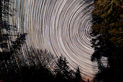 Star trails in the night sky above Little Lyford Pond Camps in Maine's Northern Forest.