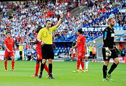 Joel Coleman of Huddersfield Town receives a yellow card  - Mandatory by-line: Matt McNulty/JMP - 20/07/2016 - FOOTBALL - John Smith's Stadium - Huddersfield, England - Huddersfield Town v Liverpool - Pre-season friendly