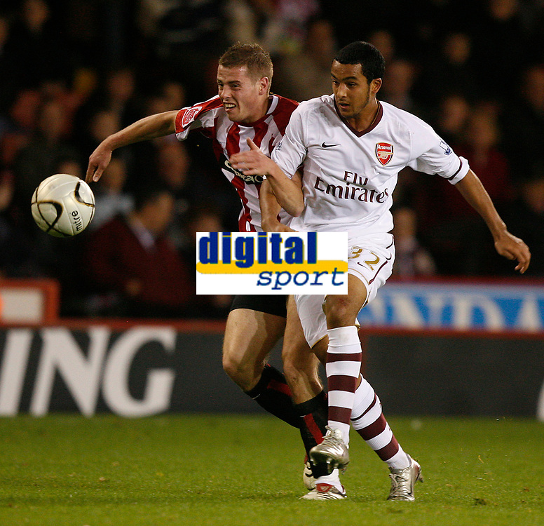 Photo: Steve Bond.<br /> Sheffield United v Arsenal. Carling Cup. 31/10/2007. theo Walcott heads off on another run