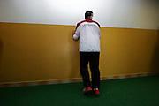 Spieler der ungarischen Goalball Mannschaft beim aufwärnen während dem internationalen Goalball Turnier in Zagreb. Goalball ist eine Mannschaftssportart für blinde und sehbehinderte Menschen und wurde vom Österreicher Hans Lorenzen und dem deutschen Sepp Reindle für Kriegsinvalide entwickelt und zum ersten Mal 1946 gespielt. Die Bilder entstanden auf zwei internationalen Goalball Turnieren in Budapest und Zagreb 2007.<br /> <br /> Player of the hungarian team during warm up at the international Goalball tournament in Zagreb. Goalball is a team sport designed for blind and visually impaired athletes. It was devised by an Austrian, Hanz Lorenzen, and a German, Sepp Reindle, in 1946 in an effort to help in the rehabilitation of visually impaired World War II veterans. The International Blind Sports Federatgion (IBSA - www.ibsa.es), responsible for fifteen sports for the blind and partially sighted in total, is the governing body for this sport. The images were made during two Goalball tournaments in Budapest and Zahreb 2007.