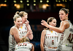 Kim Mestdagh of Belgium, Emma Meesseman of Belgium, Antonia Delaere of Belgium, Jana Raman of Belgium during basketball match between Women National teams of Belgium and Slovenia in the Qualification for the Quarter-Finals of Women's Eurobasket 2019, on July 2, 2019 in Belgrade Arena, Belgrade, Serbia. Photo by Vid Ponikvar / Sportida