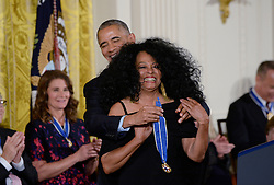 US President Barack Obama hugs vocalist and musician Diana Ross during presentation of the Presidential Medal of Freedom, the nation's highest civilian honor, during a ceremony honoring 21 recipients, in the East Room of the White House in Washington, DC, November 22, 2016. Photo by Olivier Douliery/ABACA