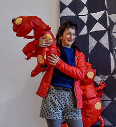 Artist Monster Chetwynd with one of her creations 'Salamanders 2018' which is appearing at the National Galleries of Scotland NOW IV exhibition at the Gallery of Modern Art.<br /> <br /> © Dave Johnston/ EEm