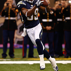 August 27, 2010; New Orleans, LA, USA; San Diego Chargers wide receiver Seyi Ajirotutu (89) prior to the start of a preseason game at the Louisiana Superdome. The New Orleans Saints defeated the San Diego Chargers 36-21. Mandatory Credit: Derick E. Hingle