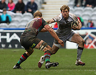 London - Saturday April 3rd, 2010: Rob Vickerman of Newcastle hands off Chris Robshaw of Harlequins during the Guinness Premiership match between Harlequins and Newcastle at the Twickenham Stoop, London. (Pic by Andrew Tobin/Focus Images)