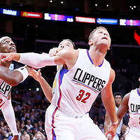 02 October 2015: Denver Nuggets forward Joffrey Lauvergne (77) vies for the rebound with Los Angeles Clippers forward Blake Griffin (32) and Los Angeles Clippers forward Paul Pierce (34) during the Los Angeles Clippers 103-96 victory over the Denver Nuggets, in a preseason game, at the Staples Center, Los Angeles, California, USA.
