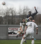 Christian Nade beats Mark McLaughlin in the air to get a header on target - Dumbarton v Dundee  - SPFL Championship at the Bet Butler Stadium<br /> <br />  - &copy; David Young - www.davidyoungphoto.co.uk - email: davidyoungphoto@gmail.com
