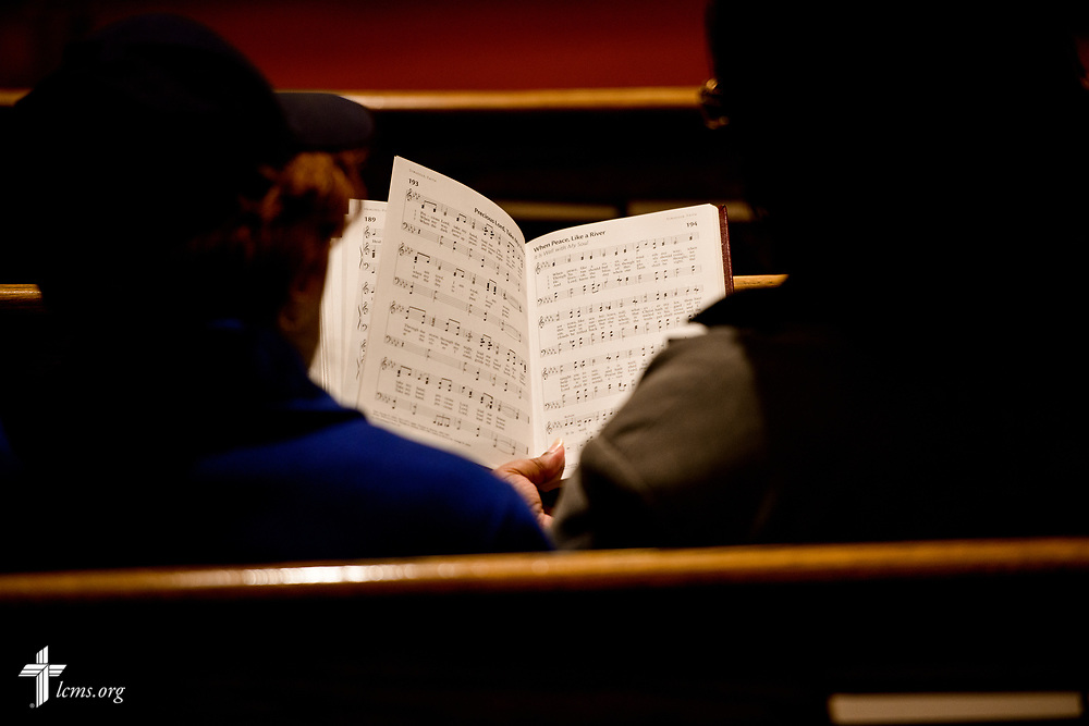 Parishioners sing during a Lenten service at St. John's Lutheran Church on Wednesday, April 5, 2017, in Gary. LCMS Communications/Erik M. Lunsford