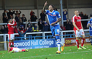 Nathaniel Menez-Laing second Goal during the The FA Cup match between Rochdale and Swindon Town at Spotland, Rochdale, England on 7 November 2015. Photo by Daniel Youngs.
