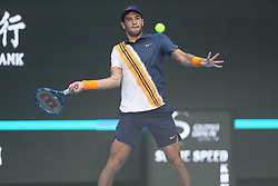 BEIJING , Oct. 1, 2018  Borna Coric of Croatia hits a return during the men's singles first round match against Feliciano Lopez of Spain at China Open tennis tournament in Beijing, China, Oct. 1, 2018. Feliciano Lopez won 2-1. (Credit Image: © Song Yanhua/Xinhua via ZUMA Wire)