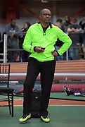 Feb 9, 2019; New York, NY, USA; Randall Cunningham coaches his daughter Vashti Cunningham (not pictured) during the women's high jump at the 112th Millrose Games at The Armory. Cunningham won at 6-4 3/4 (1.95m)