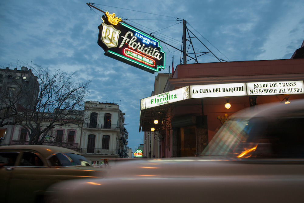 The famous daiquiri bar 'La Floridity' popularized by writer Ernest Hemingway, at sunset in Havana, Cuba.<br />