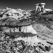 Mushroom Hoodoo - Bisti Badlands - New Mexico - Black & White