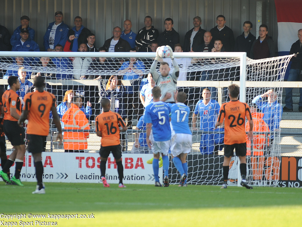 Barnets Keeper Graham Stack, Denies Eastleigh attack in the dying minutes, Barnet v Eastleigh, Vanarama Conference, Saturday 4th October 2014