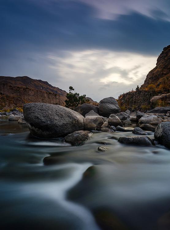 COLCA CANYON, PERU - CIRCA SEPTEMBER 2019: Colca River in the Colca Canyon.