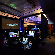 Backstage production control center at TEDx PiscataquaRiver before the show starts at 3S Artspace in Portsmouth, NH.