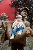 Local boy Michael O Connor, 7 months old in Cong village for an unveiling of a statue of the lead actors John Wayne and Maureeen O Hara. Picture:Andrew Downes