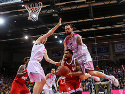 28.03.2016, Telekom Dome, Bonn, GER, Beko Basketball BL, Telekom Baskets Bonn vs FC Bayern Muenchen, 23. Runde, im Bild vl. Florian Koch (Bonn, #12), Bryce Tylor (Muenchen, #44), Dirk Maedrich (Bonn, #5) // during the Beko Basketball Bundes league 23th round match between Telekom Baskets Bonn and FC Bayern Munich at the Telekom Dome in Bonn, Germany on 2016/03/28. EXPA Pictures © 2016, PhotoCredit: EXPA/ Eibner-Pressefoto/ Horn<br /> <br /> *****ATTENTION - OUT of GER*****