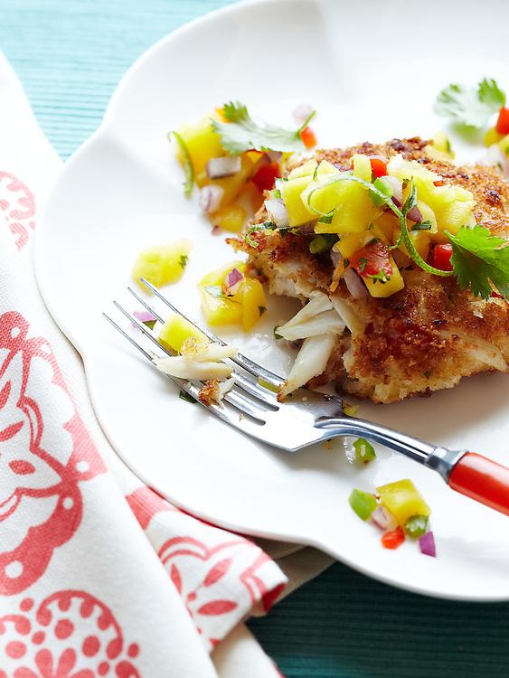 Crispy Crab Cake with Mango-Pineapple Salsa