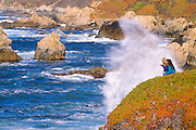 Mother and kids watching  heavy surf from Soberanes Point, Garrapata State Park, California