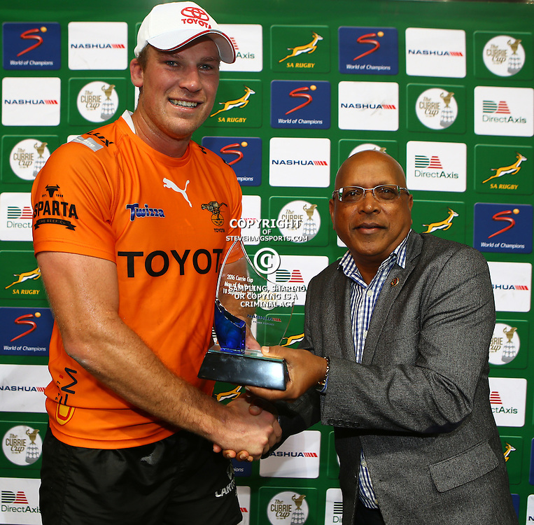 DURBAN, SOUTH AFRICA - SEPTEMBER 10: Man of the match Reniel Hugo of the Toyota Free State Cheetahs during the Currie Cup match between the Cell C Sharks and Toyota Cheetahs at Growthpoint Kings Park on September 10, 2016 in Durban, South Africa. (Photo by Steve Haag/Gallo Images)
